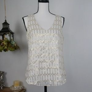 WHBM Tank Top White w/ Gold Dressy Top Small